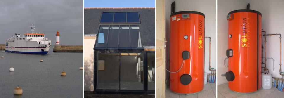 Installation d'un chauffe-eau solaire sur l'île de Groix dans le Morbihan