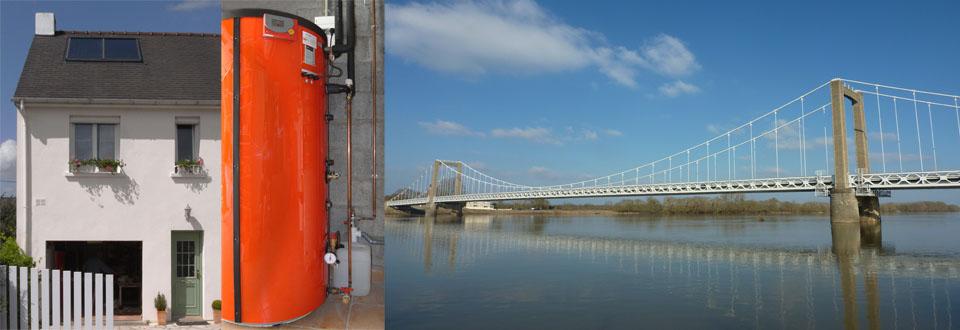 Installation d'un chauffe eau solaire à Varades en Loire Atlantique.