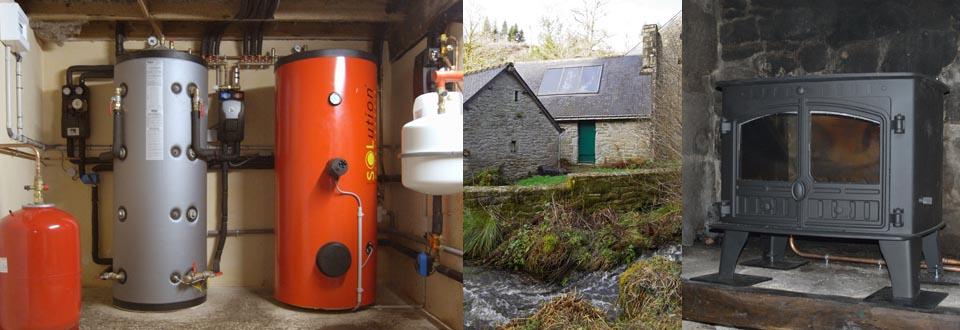 Installation d'un poêle bouilleur et d'un chauffe eau solaire dans le Morbihan à Bubry