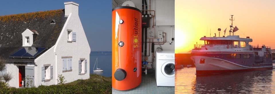 Installation d'un chauffe eau solaire à l'île de Houat dans le Morbihan